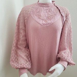 Free people sweetest thing thermal bliss blush top